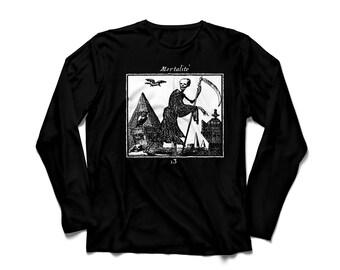Black long sleeve unisex t-shirt white ink MORTALITÉ