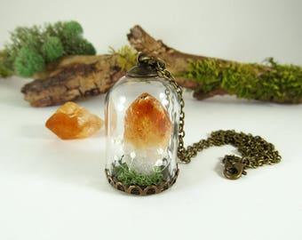 Terrarium, terrarium necklace, crystal terrarium, citrine crystal, raw crystal necklace