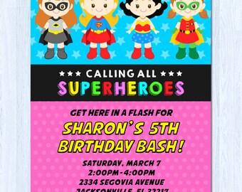 Girl Superhero Invitation, Superhero Girl Invitation, Superhero invitation Girl, Girl Superhero birthday invitation, DC Superhero Girls