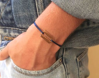Gold plated razor blade bracelet