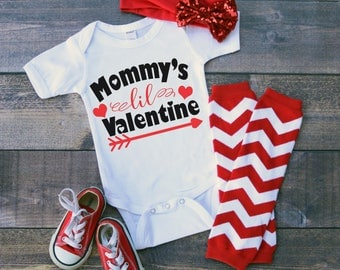 Mommy's Lil Valentine Funny  Bodysuit or T-Shirt for Baby Toddler Kid Newborn Babies Shower Coming Home Gift Idea Creeper Present Cute Day
