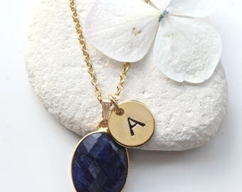 Sapphire Pendant Necklace - Initial Necklace - Sapphire Gold Necklace - September Birthstone Jewellery - September Birthstone Necklace - A30