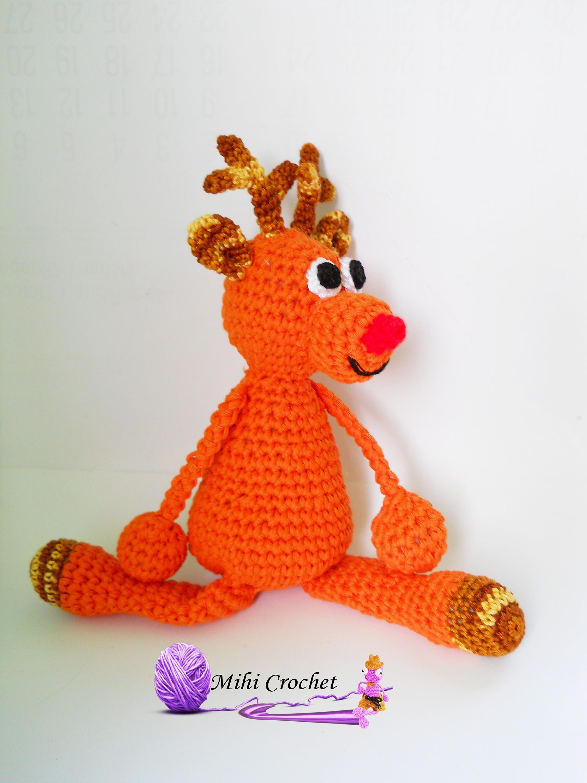 Rudolph the reindeer crochet pattern pdf amigurumi reindeer this is a digital file bankloansurffo Choice Image