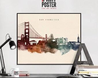 San Francisco print, San Francisco poster, San Francisco skyline watercolour print, wall art, travel poster, home decor, gift, iPrintPoster
