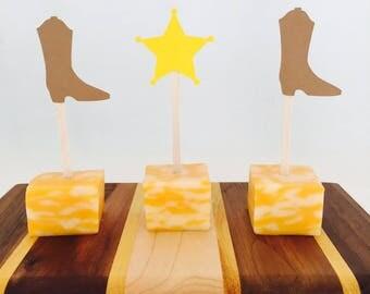 16 Cowboy Appetizer Picks - Food Picks - Wild West - Texas - Boots - Sheriff Star - Birthday Party - Kid Birthday - Western - Rodeo