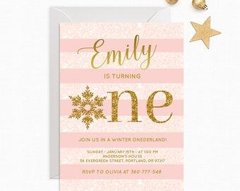Winter Onederland Invitation Girl First Birthday Party Pink And Gold Glitter Winter Onederland Birthday Printable Winter Birthday Invitation