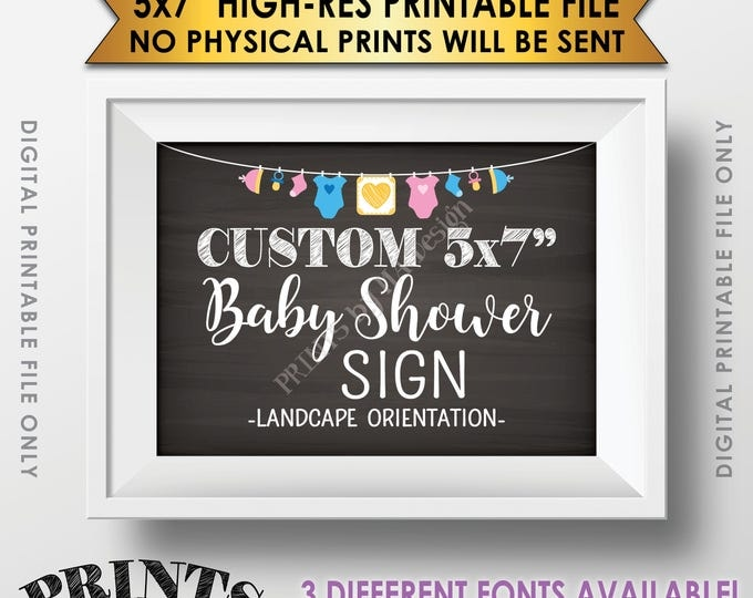 """Custom Baby Shower Sign, Choose Your Text, Baby Shower Decor, Choose the Clothesline Design, Chalkboard Style Printable 5x7"""" Landscape Sign"""