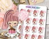 Cute Dolls- Birthday Stickers -065