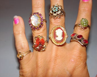 Lot of 7 Costume Rings All Adjustable Sizing Huge Jewelry Lot Statement Rings