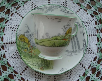 Melba Bone China - Vintage Tea Cup and Saucer - Hand Decorated Scenic, Green Trim