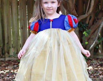 Girls Snow White Inspired Dress- Snow White Dress up- Princess Dress- Toddler Snow White Dress- 3-6m, 6-12m, 12-18m, 2t, 3t, 4t, 5, 6, 7, 8