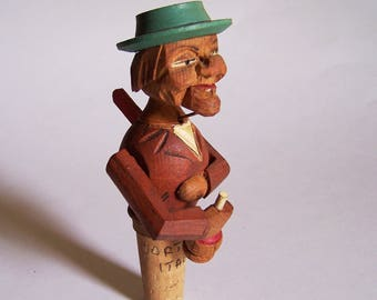 Vintage Mechanical/Animated Carved Wood Bottle Stopper by Anri - Cortina, Italy Marking on Cork - Man Drinks Bottle of Wine