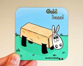 Sheep x bar of gold coaster, Gold Baaa!, fun gift, Animal gifts, funny mat, sheep gift, funny coaster, pun coaster, cute drinks mat, ewe