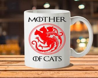 Cat Coffee Mug, Daenerys Targaryen, Mother Of Dragons, Khaleesi, Game Of Thrones Card, Targaryen, Crazy Cat Lady, Cat Lady Gift, Cat Mom Mug