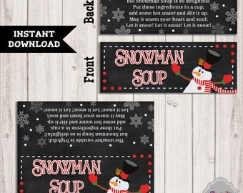 INSTANT DOWNLOAD - Snowman Soup Christmas Treat Bag Toppers - Printable, teacher, student, co-worker, friend, neighbor, Christmas gift BT023