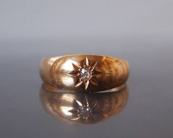 1912 Starburst Old European Diamond 18ct Yellow Gold Chester Hallmark Gypsy Ring
