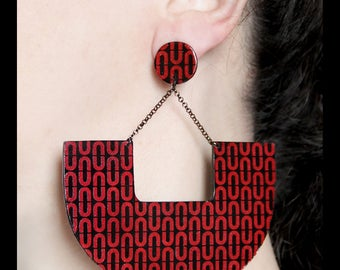 Black and red earrings Clip on dangles Statement jewelry Large earring Double sided earring Big chunky red and black Design earring Abstract