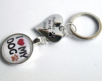 I Love My Dog Keyring ~ Dog Keychain ~ You had me at Woof ~ Dog Bag Charm ~ Dog Lover Gift ~ Pawprint