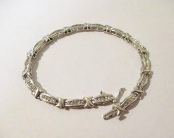 "Vintage 14K White Gold 2 CT Diamond Tennis Bracelet 7.5"""