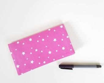 Checkbook / pink stars fabric check book