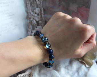 Lapis Lazuli, Reiki Bracelet, Throat Chakra, Protection Bracelet, Meditation Bracelet, Healing Bracelet, Yoga Bracelet, Vegan Jewellery