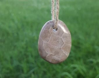 Polished Petoskey stone necklace