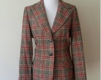 Plaid jacket, M, L, plaid blazer, wool jacket, wool blazer, Koret blazer, red black jacket, classic jacket, fall jacket