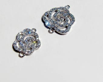 Silver pave connector camelia rose, link focal element pave cubic zirconia CZ crystals link chanel necklace component