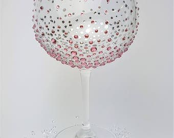Personalised gin glass, gin lover,  Hand Decorated,  Gin Goblet, Pink,  Silver,  Bridesmaid gift,  Birthday,  Gift for her,  Wedding party