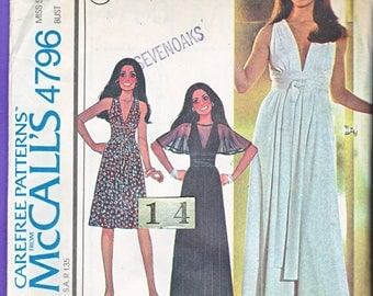 Plunging Neckline, Empire Waist Evening Dress Sewing Pattern/ 1970s McCalls 4796 Womens Grecian, Gathered Fitted Waist Evening Dress Size 14