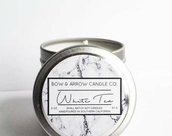 2 oz Natural Soy Candle White Tea Scented | 2 oz Tin Candle | Tea Soy Candle | White Tea | Scented Soy Candle | Soy Candles