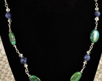 Sterling Silver Wire Wrapped Necklace, Chrysocolla Sodalite and Swarovski Crystal Necklace, Jewelry Gift