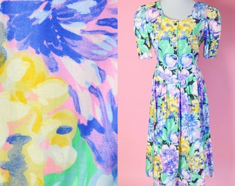 Vintage 90s Floral Day Dress // S L Fashions, Blue, Purple, Yellow, Mom, 1990s Dress, Women Size Medium Large
