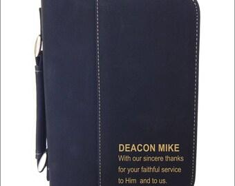 Deacon Appreciation Bible Cover Gift, Thank You Deacon Ordination Engraved Bible Case Gift, Clergy Appreciation Day Christian Gift, BCL006