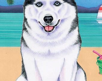 Siberian Husky Beach Towel  48018