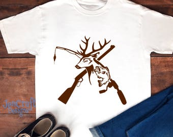 Deer and Fish, riffle. Fishing pole SVG, Hunting Fishing Svg, eps, dxf and PNG Format for Cricut and Silhouette, Hunting Fishing