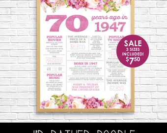 70th Birthday Sign - Back in 1947 - 70 Years Ago in 1947 - Printable Digital Sign - Instant Download - Boho Watercolor Flowers - Gift Sign
