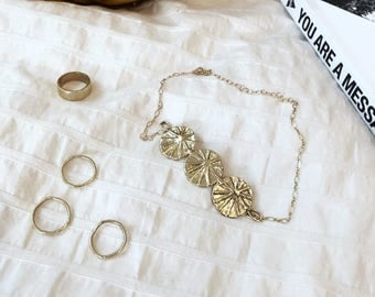 Medallion choker // Gold choker // handmade jewelry // hand carved necklace // gold necklace