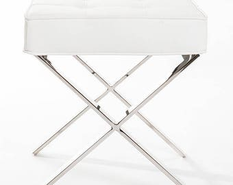 white chair for vanity. Premium White PU Leather Stainless Steel Vanity Chair Stool chair  Etsy