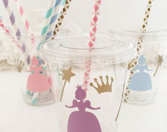 Princess Party Cups - Princess Birthday Cups - Princess Baby Shower - Princess Favors - Royal Birthday - Princess Crown Wand Gold Treat Cups