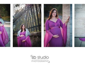 Purple Full Lenght Jersey Maternity Dress, Maternity Gown, Photo Shoot, Maternity Gown, Maternity Photography, Photoprops