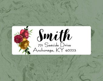 Address Labels   Printable   Return address label   Red & Yellow Watercolor floral labels   Autumn