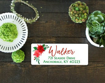 Christmas Address Labels, Floral Address Labels Printable Avery | Pretty Return labels | Red & Green Watercolor floral labels | Christmas