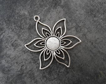 Large flower pendant, pendant Sun, silver, 47 x 38 mm