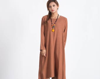 Women's maxi dress Loose linen pullover Long linen Kaftan plus size clothing large size dress Custom-made clothing A98
