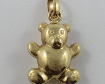 Teddy Bear 14K Gold Vintage Charm For Bracelet