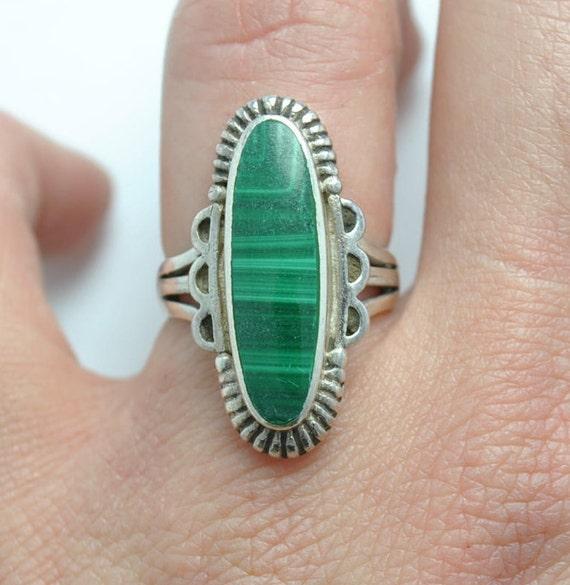 Malachite ring - Vintage ring - Boho ring - Vintage jewelry - ethnic ring - woman ring