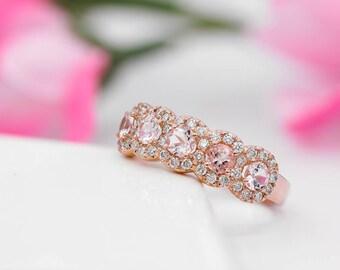 5 Stone Morganite Halo Diamond Anniversary Ring, 14K White, Yellow, Rose Gold, Five Stone Diamond Halo Ring, Wedding band, Eternity Ring