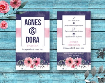 Agnes And Dora Business Cards * Consultant * Marketing Kit * Agnes & Dora Independent Sales Reps * Floral * Water Color Paint * Stripes