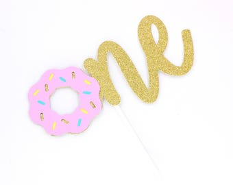 Donut One Gold Glitter Cake Topper, Donut Cake Topper, Donut One Cake Topper, Donut Party Decor, Donut Grow Up Part, Fist Birthday Decor